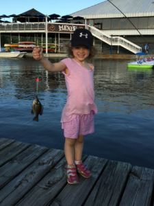 Girl guide with her first fish
