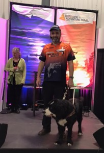 Lawrence and Moby on stage at the Fish Hunt and Ride Outdoor show