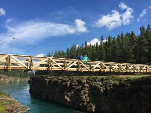 Lawrence and Dave Brown on Miles Canyon Bridge