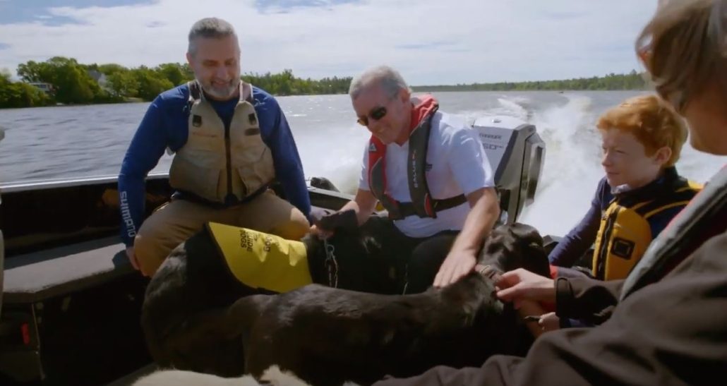 Photo of: Lawrence, Andrew, Karen, and Theo with Guide Dogs: Marian, Dunstan and Lewis on the boat out on the lake.