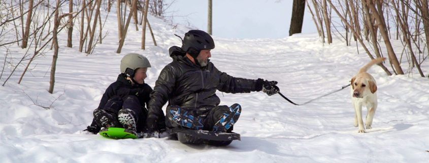 Theo and Lawrence sledding with Sherman